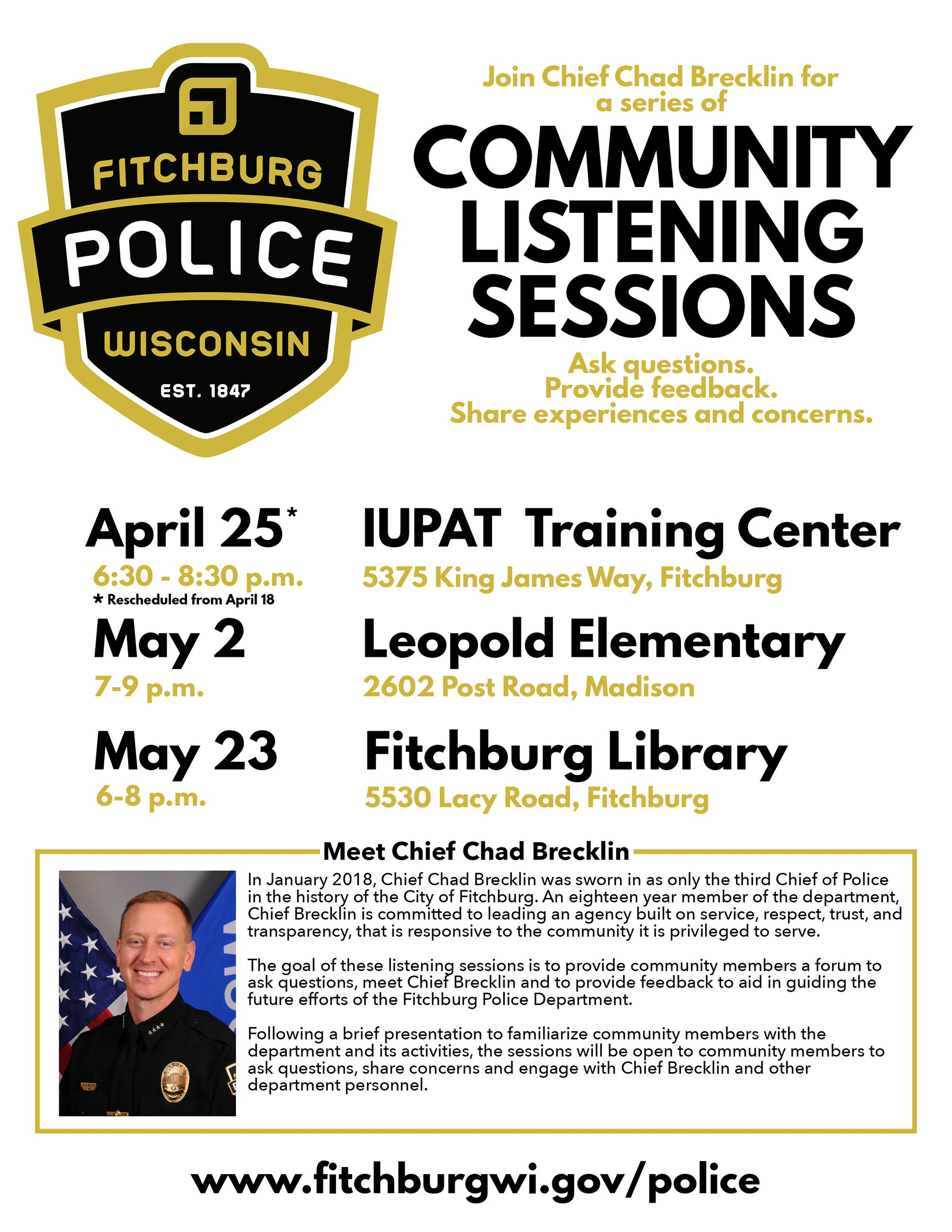 Fitchburg Police Listening Sessions Flyer_Update